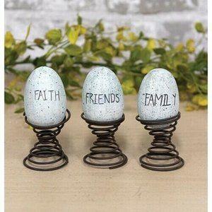 Faith, Family, Friends Eggs on Springs Set of 3